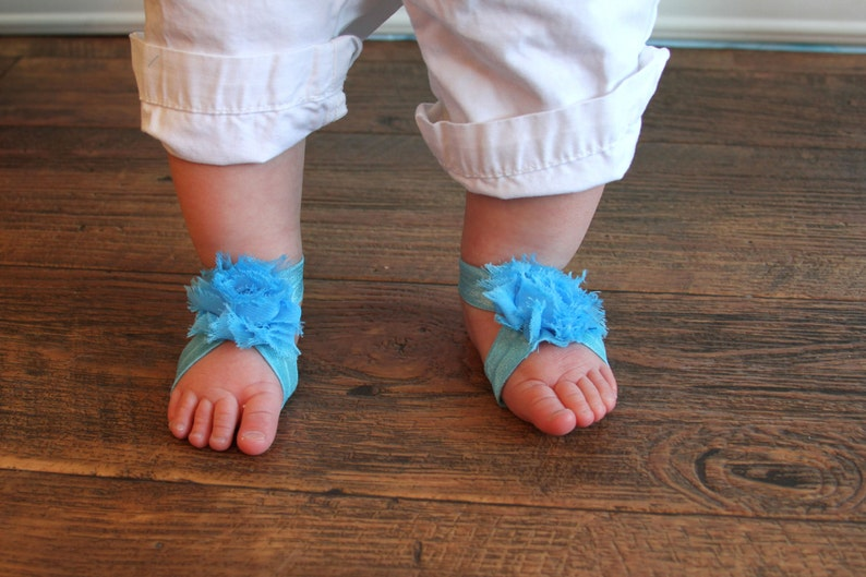 29b73af31b985 Barefoot Sandals - Solid Light Turquoise - Newborn Infant Baby Toddler Girl  Sock Tights Shoes Shoe Cover Valentine Easter Spring Summer Zoo