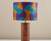 African wax print drum lampshade, geometric pattern statement lighting bedside lamp, boho decor lamp shade, table lamp  purple yellow waves