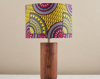 Etsy DESIGN AWARDS ENTRY, African wax print drum lampshade, geometric pattern, boho decor lamp shade, table lamp pink yellow sunshine