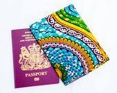 Passport Holder- Passport Cover-  African Print Passport - Passport Wallet - Passport cover - Womens Purse - Blue yello geo