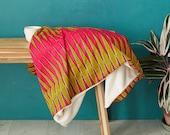 African print blanket, African print throw, Comforter, Baby blanket, Ankara blanket, African duvet, African bedding, blanket,  Pink zig zag,