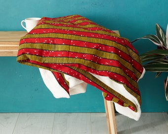 African print blanket, African print throw, Comforter, Baby blanket, Ankara blanket, African duvet, African bedding, blankets, Red stripes,