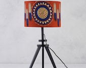 Lampshade African Wax Print , drum lampshade, orange blue geometric lampshade, Lamp shades, lampshade, hanging lampshades,  Rust blue circle