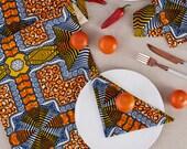 African Print Table Runner, Table Runner, Kitchen And Dining, African print, Table Linen, Table Cloth, Table Runner, Orange Blue Square