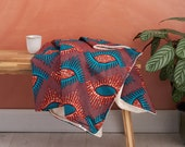 African print blanket, African print throw, Comforter, Baby blanket, Ankara blanket, African duvet, African bedding,  Maroon and Turquoise,,