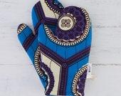 Oven mitt, Oven mits, Oven gloves, kitchen oven glove, kitchen dining,  kitchen linens, kitchen mitt, African print gloves, Blue white geo,,