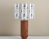 African wax print drum lampshade, geometric pattern statement lighting bedside lamp, boho decor lamp shade, table lamp, white mud cloth