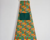 Apron, Aprons, printed apron, cotton, African print apron, kitchen apron, African fabric apron, womens mens apron, green and yellow kente
