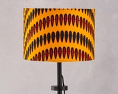 Lampshade African Wax Print , drum lampshade, Red geometric lampshade, Lamp shades, lampshade, hanging lampshades, lamp, Yellow droplets,