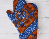 Patterned kitchen glove, african fabric oven mits, potholders cooking gift for her, handmade print abstract geometric, Blue Nsaa