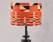 Lampshade African Wax Print , drum lampshade, Red geometric lampshade, Lamp shades, lampshade, hanging lampshades, lamp, Red black kente,