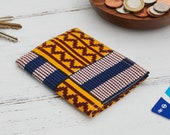 Card holder African print, credit card wallet, oyster card holder, travelcard wallet, business card case, card case, Blue yellow kente,,,