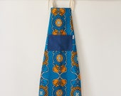 Apron, aprons, blue Apron, printed apron,  African print apron, kitchen apron, African fabric apron, womens apron, kitchen linens,Blue Kramo