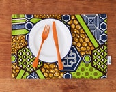 African print fabric placemats set of 2, boho cotton placemat, housewarming gift for her, colorful boho linen placemats, green nyame fabric