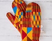 Patterned kitchen glove, african fabric oven mits, potholders cooking gift for her, handmade print abstract geometric, red brown kente