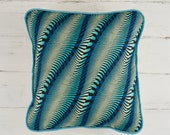 Blue waves African print pillow cover, colour block pillow, Decorative throw cushion cover for couch, home decor housewarming gift, nautical