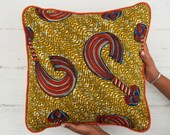 African Pillow Cover - Decorative Pillow -  Couch Pillow - Throw Pillow - Scatter Cushion -  Cushion Cover- Gold and orange whip