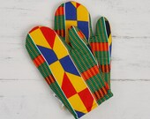 Patterned kitchen glove, african fabric oven mits, potholders cooking gift for her, handmade print abstract geometric, Green yellow kente