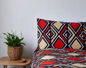 African Print Duvet Set - Duvet Cover - Ankara Bedding - African Print Bedding - Bedding African Fabric - Bedding Set - Red black balogan
