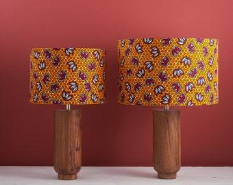 African wax print drum lampshade, geometric pattern statement lighting bedside lamp, boho decor lamp shade, Orange and cerise petals