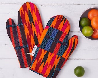 Patterned kitchen glove, african fabric oven mits, potholders cooking gift for her, print abstract geometric, orange black pink kente