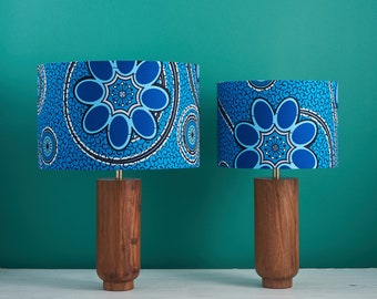 African wax print drum lampshade, geometric pattern statement lighting bedside lamp, boho decor lamp shade,blue floral geometric