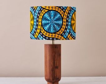 African wax print drum lampshade, geometric pattern statement lighting bedside lamp, boho decor lamp shade, table lamp blue cassettes print