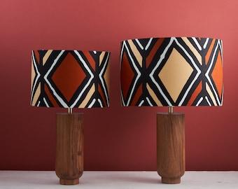 African wax print drum lampshade, geometric pattern statement lighting bedside lamp, boho decor lamp shade, brown diamond balogan