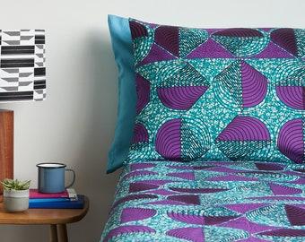 African Print Duvet Set - Duvet Cover - Ankara Bedding - African Print Bedding - Bedding African Fabric - Bedding Set - Purple teardrop