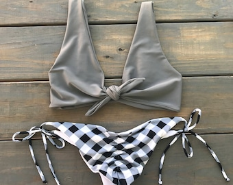 9b1e7f20ba4d0 Stone Grey Adjustable Tie Knot Top and Gingham String Bikini Set - Knot Tie  Top is Adjustable - Gingham Bikini Bottom - Cheeky Bikini Set