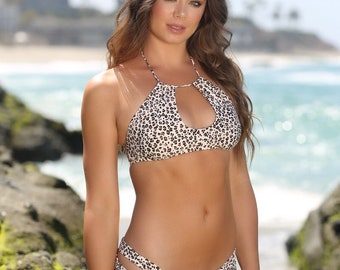 b7962e9fa3 Leopard Cheetah Animal Print Bikini Set - Halter Keyhole Strappy Bikini Top  - Cheeky Scrunch Swimwear Bottom by Sweet Treat Bikinis