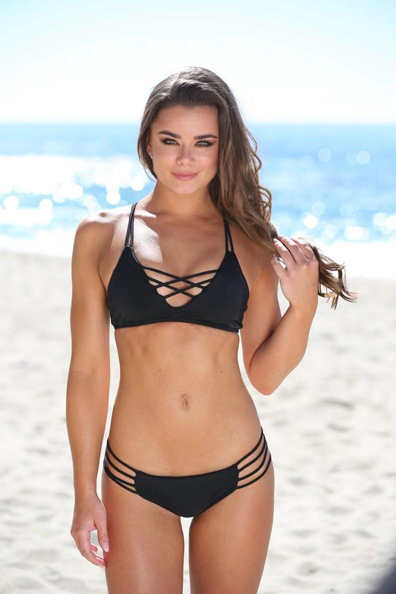 elegant shape factory outlets best wholesaler Stella in Black Top -Black Strappy Bikini Top - Little Black Bikini -  Supportive Bikini Top - by Sweet Treat Bikinis