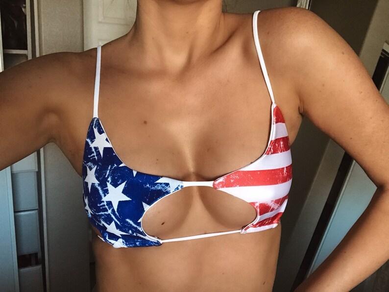 55793a671ae6d American Flag Stars and Stripes Women's Sexy Scoop Bikini | Etsy