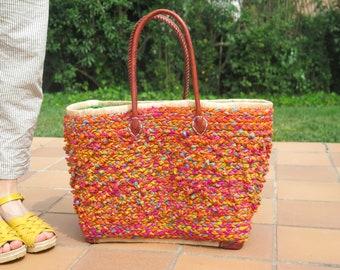 Basket bag | Straw bag | Basket leather straps | Large straw bag | Raffia bag | Straw basket bag | raffia bag leather handles