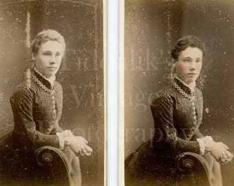 2X CDV Photos Victorian Young Woman One Hand Tinted Portrait Mrs Williams Female Photographer Wolverhampton 1881 Carte De Visite