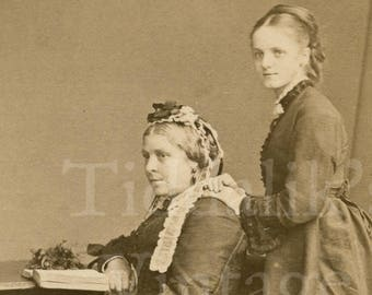 CDV Carte De Visite Photo 2 Victorian Women Identified Names And Date 1872 Portrait