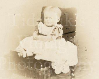 CDV Carte de Visite Photo Victorian Cute Baby Girl, Fringe Chair Vignette Portrait - G & R Lavis of Eastbourne England - Antique Photograph