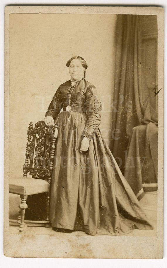 CDV Photo Victorian Standing Woman Dark Dress Portrait By A L