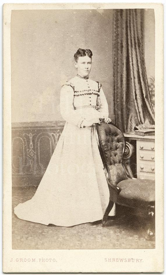 Standing Portrait ~ CDV Photo ~ J Turner of Birmingham ~ 1860s Antique Carte de Visite Photograph Victorian Young Woman Pale Hooped Dress
