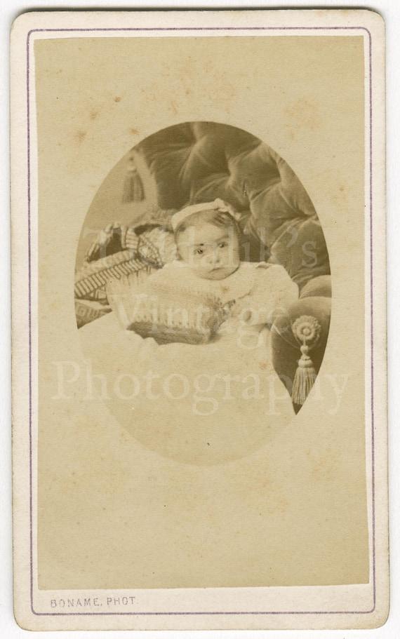 Cdv Carte De Visite Photo Victorian Cute Baby Girl Sitting On Chair Holding Basket Portrait By Boname Of Besançon France Antique Photograph