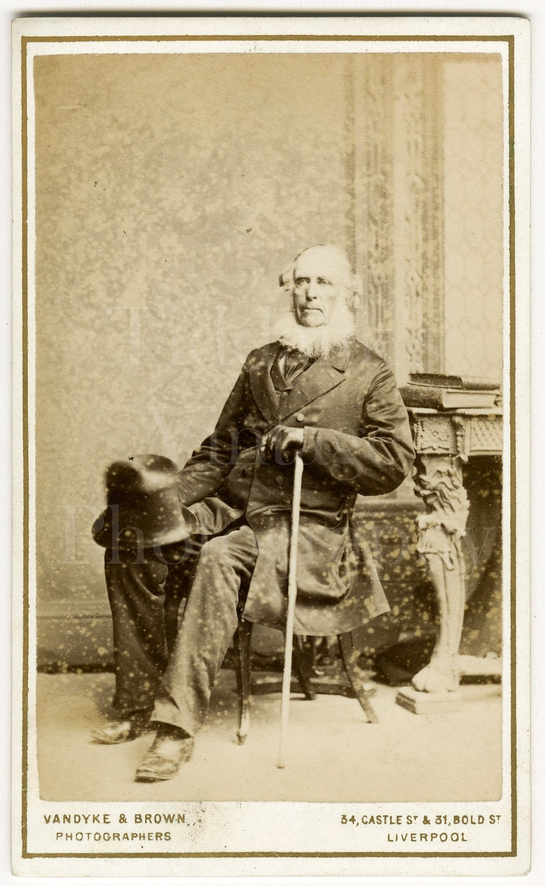 CDV Photo Victorian Seated Old Man Big White Neck Beard Top