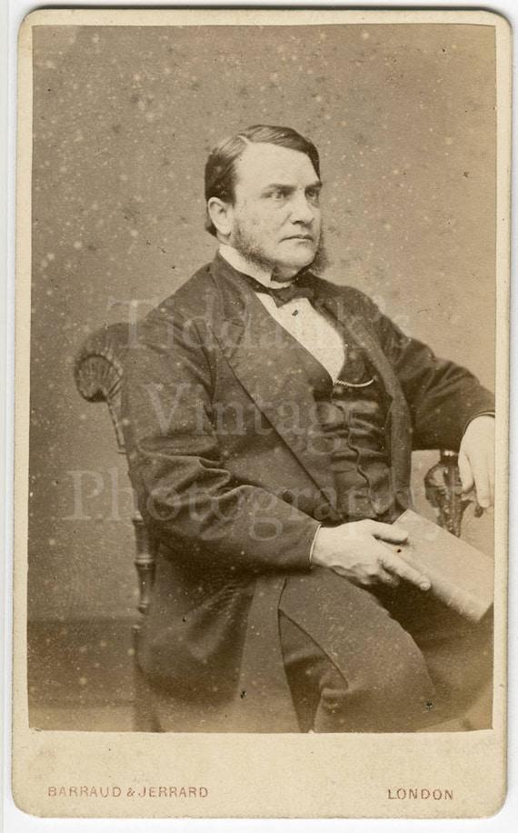 CDV Carte De Visite Photo Victorian Man Holding Book Mutton