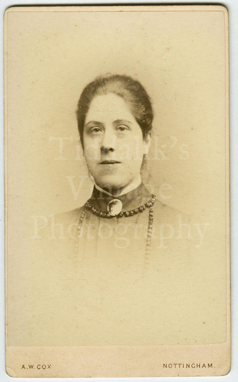 CDV Carte de Visite Photo Victorian Young Pretty Girl A W Cox of Nottingham England Hair Up Big Neck Brooch Portrait Antique Photo