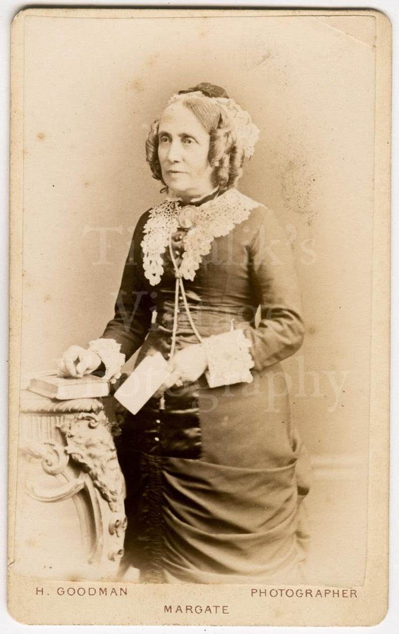 CDV Carte De Visite Photo Victorian Standing Old Woman Hair