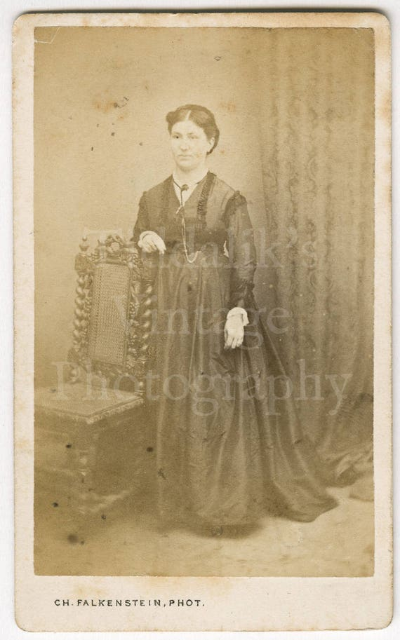 CDV Photo Victorian Young Pretty Woman Long Dress Standing Portrait By C H Falkenstein Of France