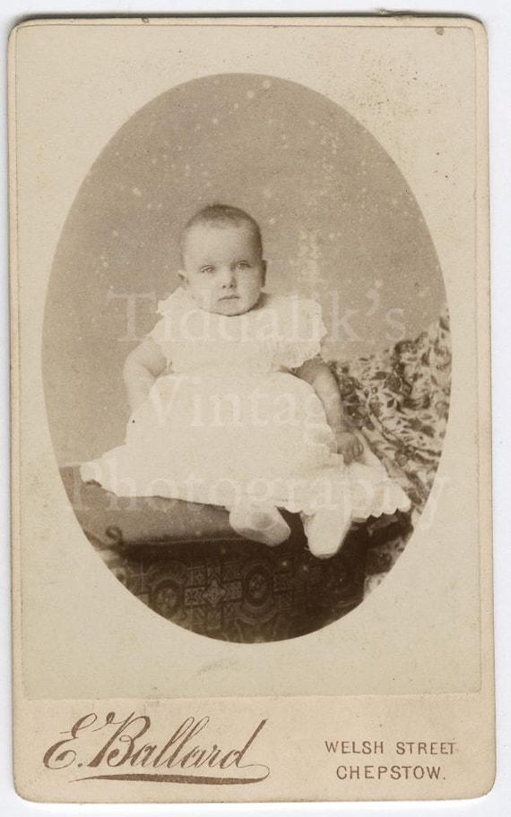 Cdv Carte De Visite Photo Victorian Baby Sitting 6 Months Old Oval Frame Portrait Edmund Ballard Of Chepstow England Antique Photo