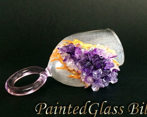 Free shipping Amethyst geode ring wine glass