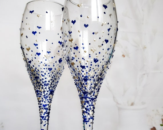 Set of 2 hand painted white wine/ champagne glasses Valentine's day in pearly white and blue Cake serving set server and knife