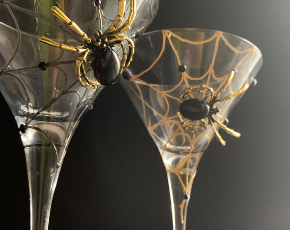 Gold black spider martini glasses