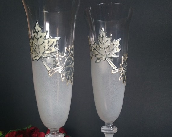 Autumn set of 2 hand painted wedding champagne flutes Maple leaves white silver